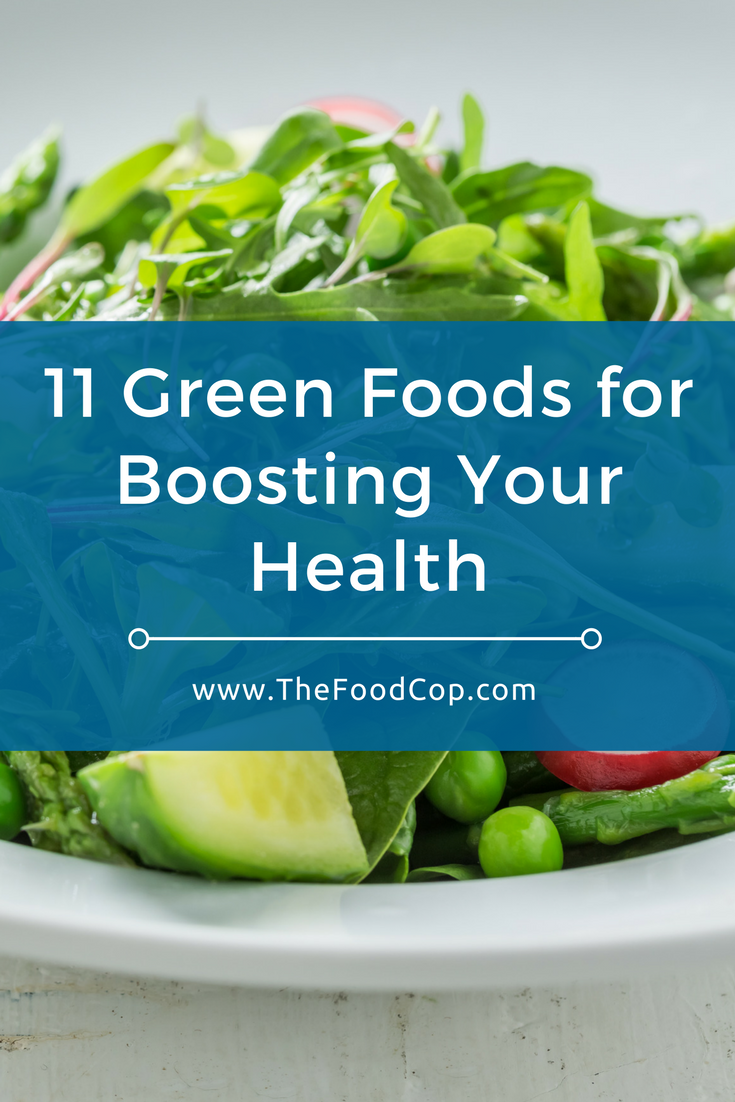 green food | pistachios | pumpkin seeds | collard greens | spinach | seaweed | asparagus | avocado | green bell pepper | edamame | snap peas | swiss chard | The Food Cop